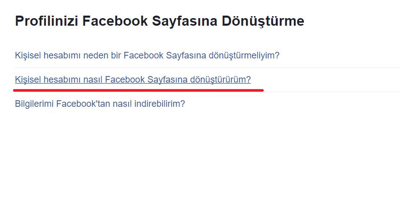facebook hesabını Sayfaya Dönüştürme